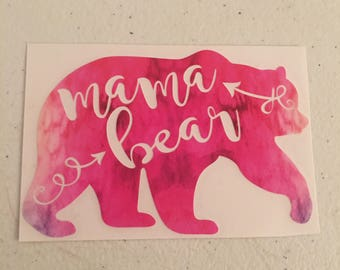 Water color mama bear vinyl decal