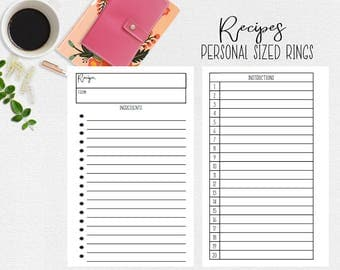 Recipe Card for Personal Sized Ring Planner