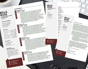 Resume Templates for Microsoft Word – Instant Download, Includes 1 and 2 Page CV Format, Cover Letter and References Sheet