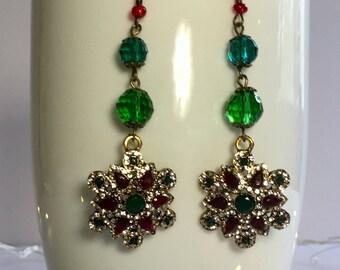 Red, Green and Rhinestone Starburst Drop Earrings