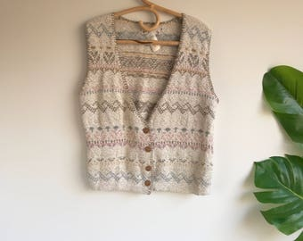 Vintage Beige and Pink Fair Isle Orvis Sweater Vest Size Medium --Deadstock