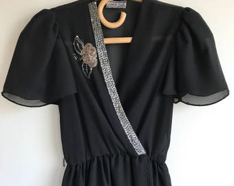 Black Sheer Mid Calf Sequin Dress Wrap Dress