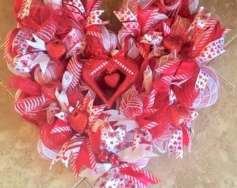 Valentines Day Deco Mesh Wreath