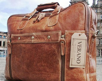 Italian Genuine Leather Briefcase Travel Flight Cabin Shoulder Laptop Bag Duffle Holdall Mens Birthday Gift Tan Walnut Real Luxury Verano