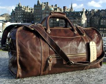 SALE  New Genuine Italian Leather Duffle Weekend Gym Travel Flight Cabin Sports Bag Holdall Mens Birthday Gift Mocha Dark Brown Verano