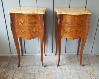 French Marble Top Bedside Cabinets C1920