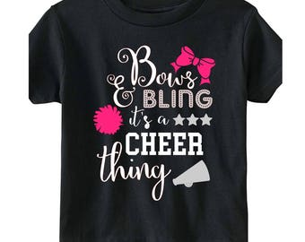 Bows and Bling It's a Cheer Thing Shirt Tee Personalized