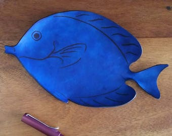 Blue Tang Leather Tray