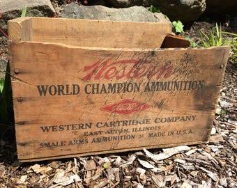 Vintage Western Cartridge Xpert Super Trap Ammunition Crate - 12 Gauge Shotgun Wooden Ammo Box, Primitive Rustic Decor