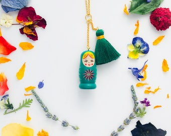 Matryoshka Charm/Tassel Necklace in Green