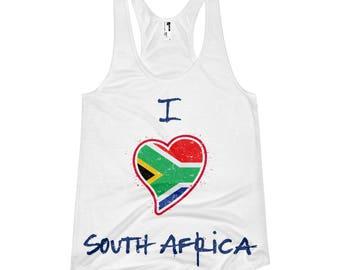 Women's racerback tank - I love South Africa