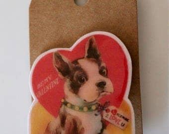 Frenchie valentine brooch