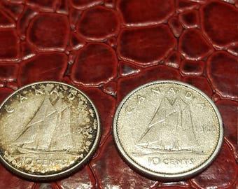 1960  Canada 10 Cent Dime Silver Coin-1 coin