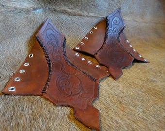 Leather Hexpad bracers Middle Ages fantasy Larp elf
