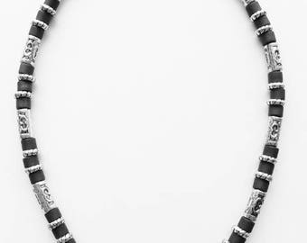 South Beach Men's Necklace Beaded Two-tone Chrome, Surfer Style Choker