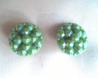 1950s iridescent green plastic earrings, tiny facetted geodomes, clip-on, vintage costume jewellery