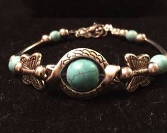 Sterling silver turquoise beaded charm bracelet