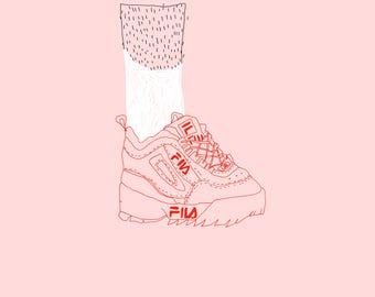 Pink trainers - A3 print
