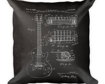 Square Pillow - Gibson Guitar 1955 - Patent Print Pillow - Guitarist Music Gift - Birthday Gift - Father's Day Gift - Guitar Player Gift