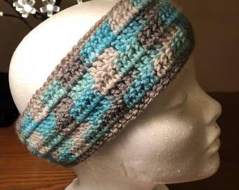 Blue and grey earwarmers