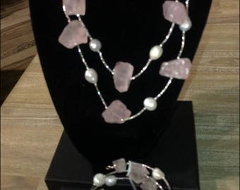 Pink citrine & Pearl Necklace and earrings set