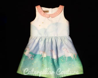 Girls 2T spring or easter dress with prancing unicorns