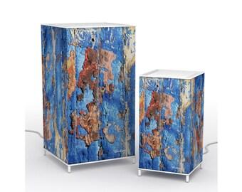 Vivaluma table Lamp wood blue, LED table lamp Wood Blue