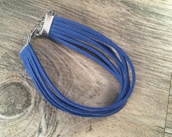Vegan suede six strand bracelet 6 inch with 2 inch weighted extender chain