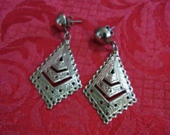 Vintage Silver tone diamond shaped post earrings