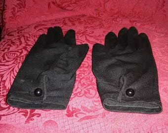 Vintage black polyester gloves for petite hands. The buttons have been replaced.