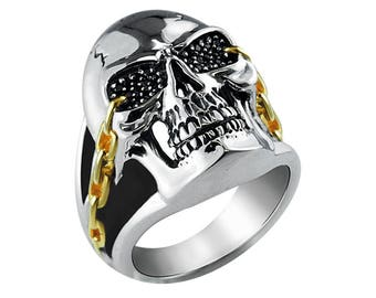 Awesome Sterling Silver Skull Ring with Chain Details