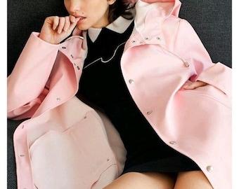 Ladies PU - leather Classic Raincoat, Ladies Raincoat, Womans Wind Jacket, Waterproof. Pale Pink, Free Shipping!