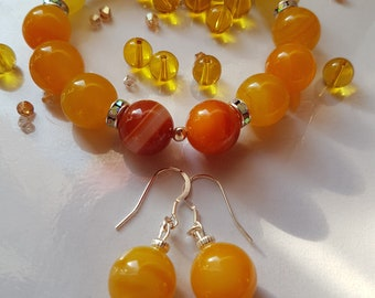 Beautiful Agate  Yellow 14mm combo!!!Gemstone, 925 silver