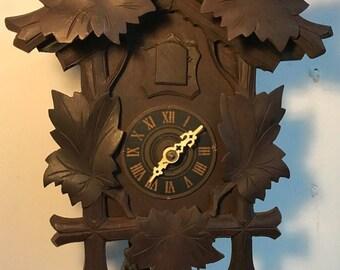 Vintage German Black Forest Wooden Cuckoo Clock Pine Cone Weights Bird