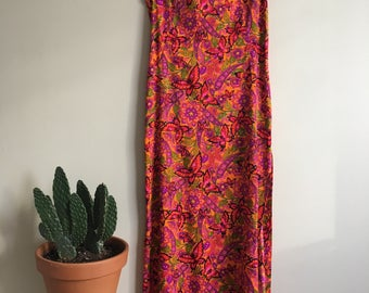 1960's Psychedelic Butterfly Garden maxi dress with high slit • 1960's • Hippie • Bohemian • Retro • Floal • Colourful • Marjorie Hamilton •