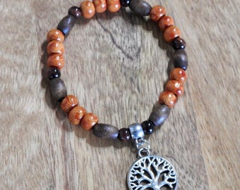 Natural Tigers Eye gemstone, wooden bead with Tree of Life charm healing stretch bracelet