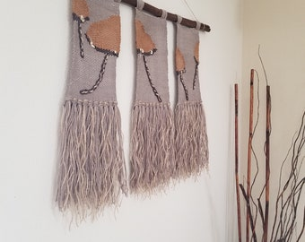 Woven Wall Hanging/Woven Wall Tapestry Weaving/ Three light brown Wall Decor NEW