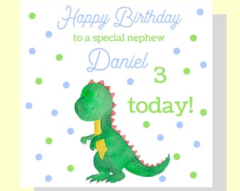 Boys Birthday Card, Personalised Dinosaur Birthday Card, Dino Card, Dinosaur, Birthday Card Son Nephew Any Age Name Wording Handmade Custom