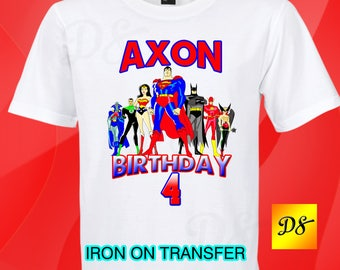 Justice League Iron On Transfer, Justice League Birthday Shirt Iron On Transfer, Justice League Personalize Iron On, Digital File Only