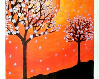 AUTUMN - 9in x 12in (22.86cm x 30.48cm) - Acrylic on Paper - Nature Art Original Painting by LeslieA.