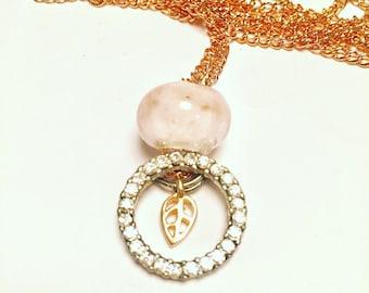 Circle Leaf Charm Necklace