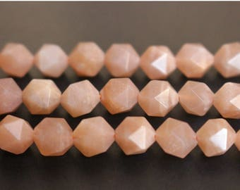 Natural Orange Moonstone faceted stars cut nugget  beads 6mm 8mm 10mm beads,loose beads,semi-precious stone,15 Inches Full strand