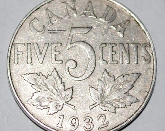 Canada 1932 5 Cents George V Canadian Nickel