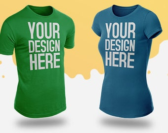 Realistic T-Shirt Mock-Up Vol.1 / Amazing T-shirt mockup for your Store : Side - Front - Back / Men & Women