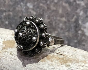 Vintage Sterling Silver Poison Ring Size 7.5