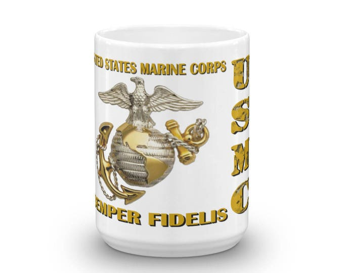 USMC, United States Marine Corps Coffee Mug, Military Support, Semper Fi, Coffee Lovers, Coffee Drinkers, Coffee Addict, Always Faithful