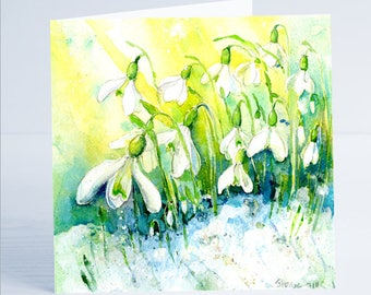 Snowdrops Flower Greeting Card by Sheila Gill