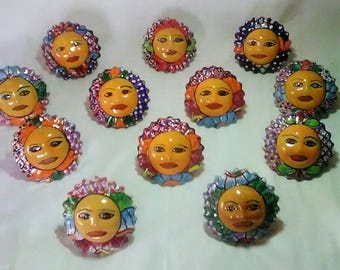 """3 Talavera Suns 4"""" Hand Painted with attachment hole. Each very unique, one of a kind. Set of 3"""