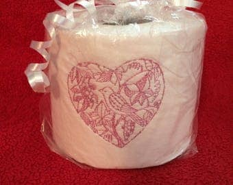 Embroidered Toilet Paper with Birdin Heart Design