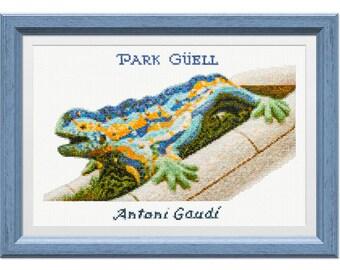 Cross stitch kit, Barcelona, Gaudí. Park Güell lizard